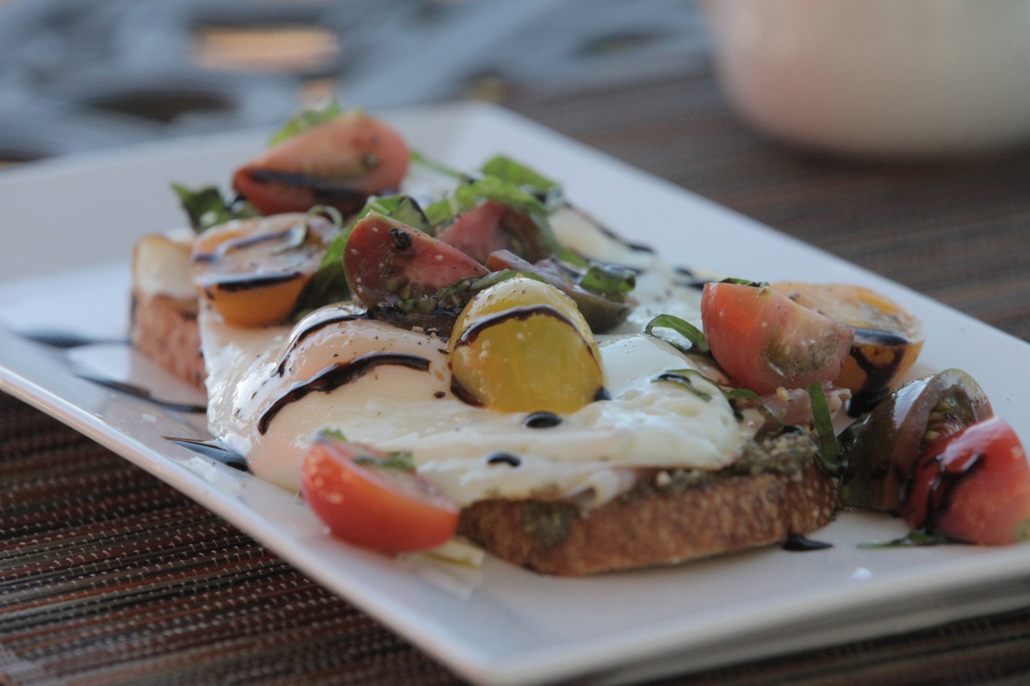 Breakfast Bruschetta with Balsamic Reduction