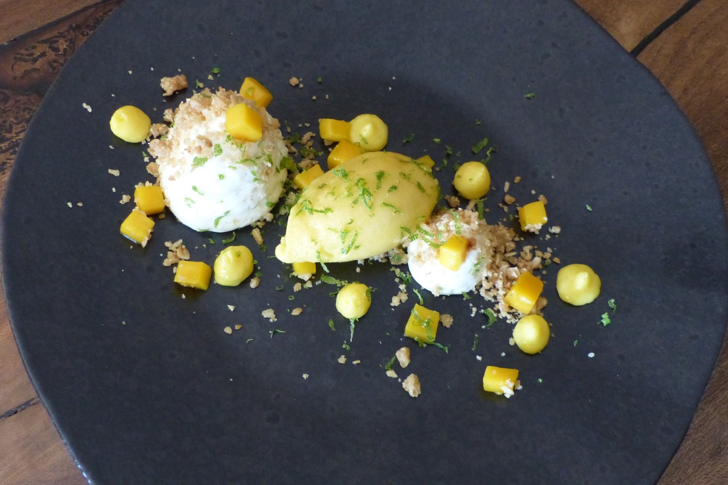 Deconstructed Cheesecake with Mango and Lemon