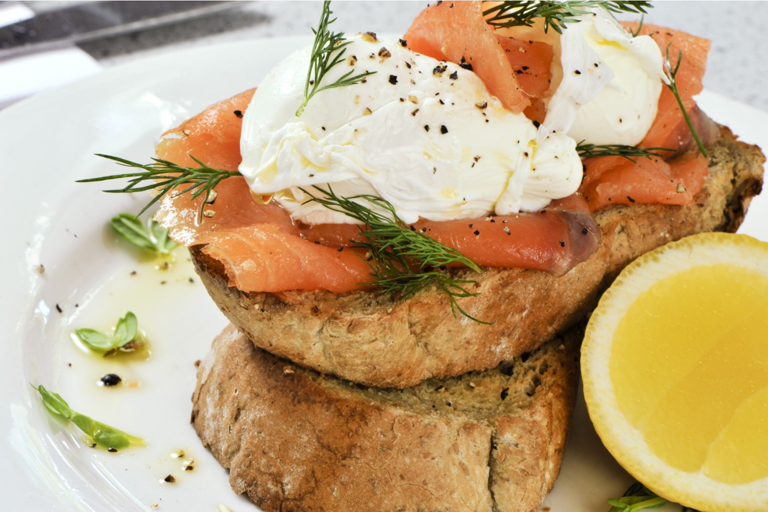 Poached Eggs with Salmon on Rustic Bread